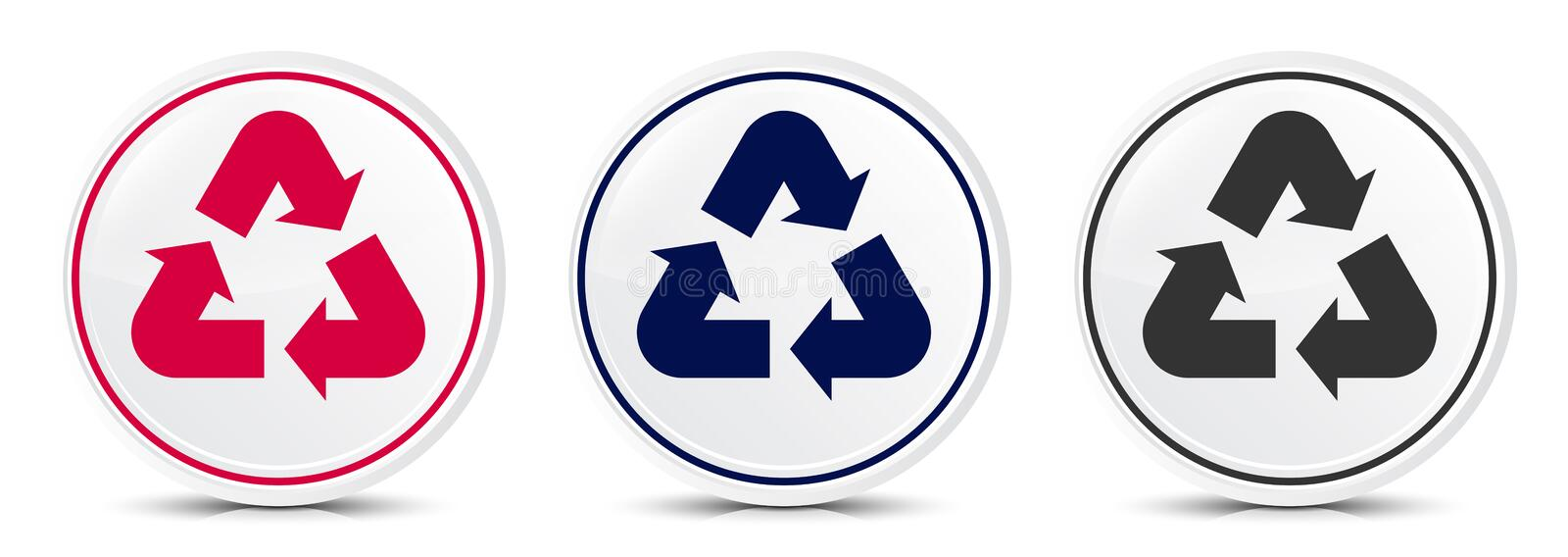 Recycle symbol icon crystal flat round button set illustration design. Isolated on white background vector illustration