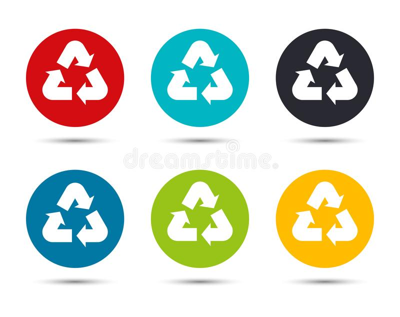 Recycle symbol icon flat round button set illustration design. Isolated on white background royalty free illustration