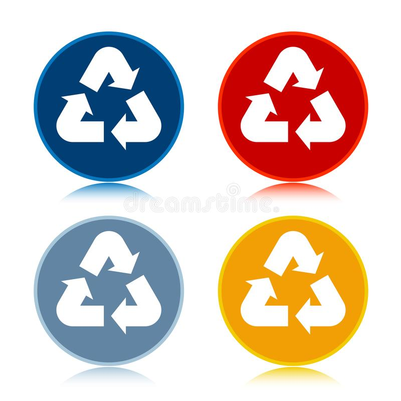 Recycle symbol icon trendy flat round buttons set illustration design. Recycle symbol icon isolated on trendy flat round buttons set reflected illustration vector illustration
