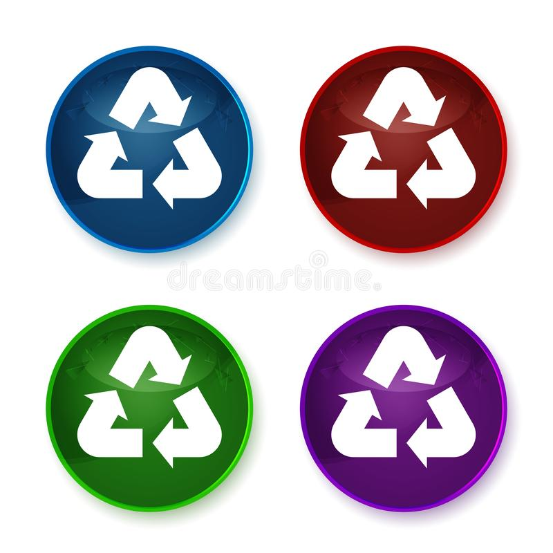 Recycle symbol icon shiny round buttons set illustration. Recycle symbol icon isolated on shiny round buttons set illustration royalty free illustration