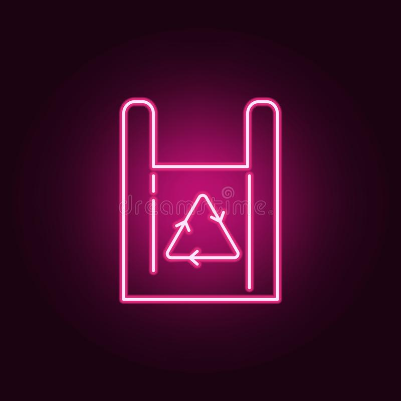Recycle symbol paper bag shopping buying store neon icon. Elements of ecology set. Simple icon for websites, web design, mobile. App, info graphics on dark vector illustration