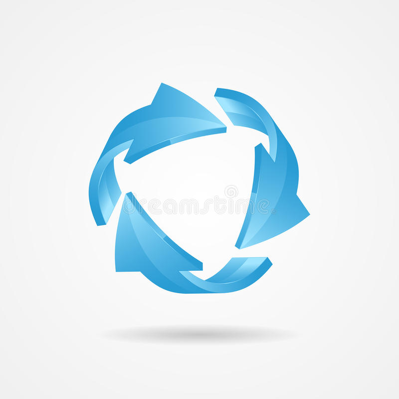 Recycle symbol, recycle logo. Ecology logo with blue arrow royalty free illustration