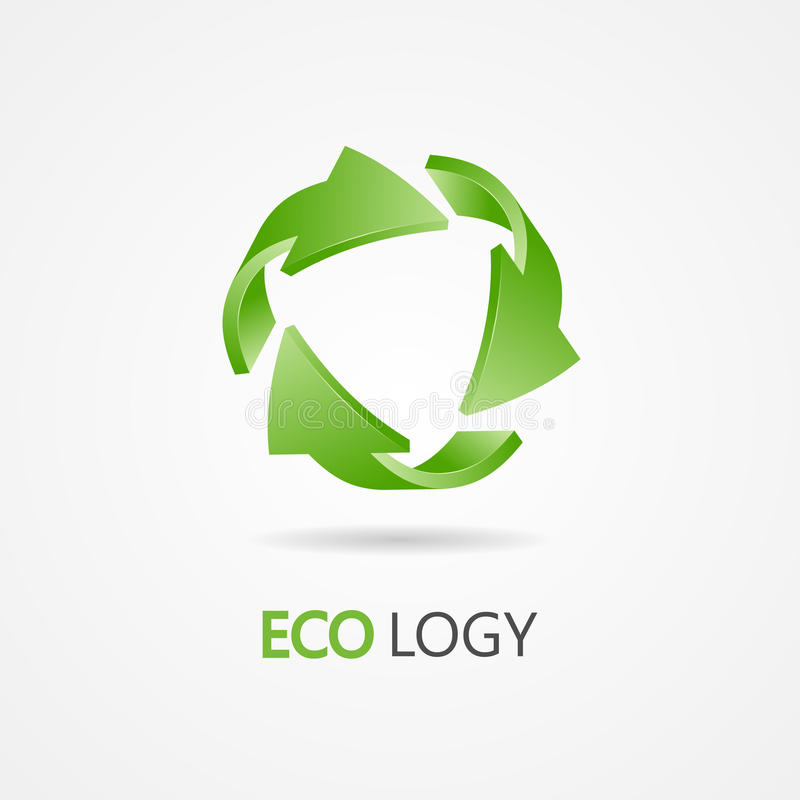 Recycle symbol, recycle logo. Ecology logo with green arrow royalty free illustration
