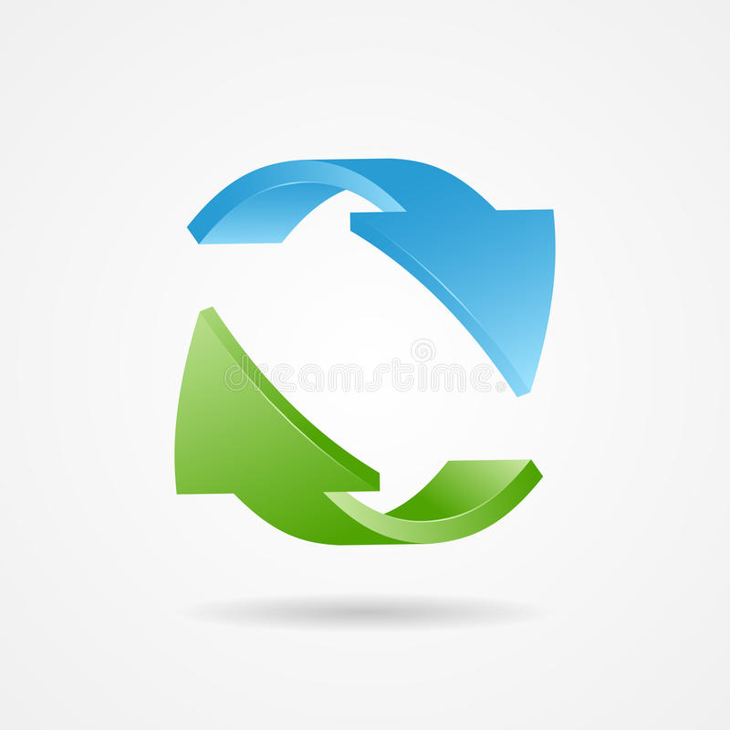 Recycle symbol, recycle logo. Ecology logo with green and blue arrow vector illustration
