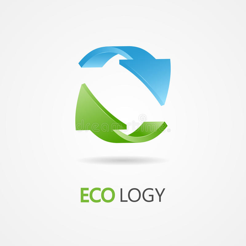 Recycle symbol, recycle logo. Ecology logo with green and blue arrow royalty free illustration