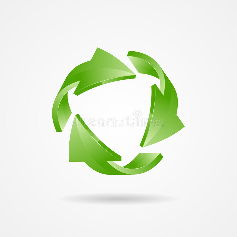 Recycle symbol, recycle logo, ecology logo. With green arrow royalty free illustration