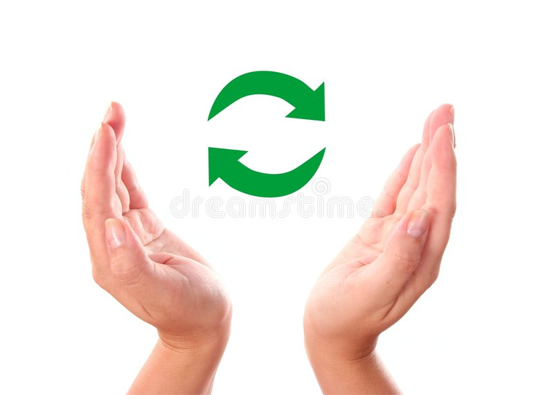 Recycle Symbol In Two Hands Stock Image Image Of Green Round 7995605
