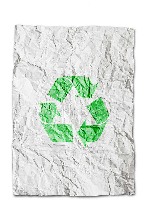 Download Recycle Symbol On Wrinkled Paper Isolated Stock Image - Image: 16530457