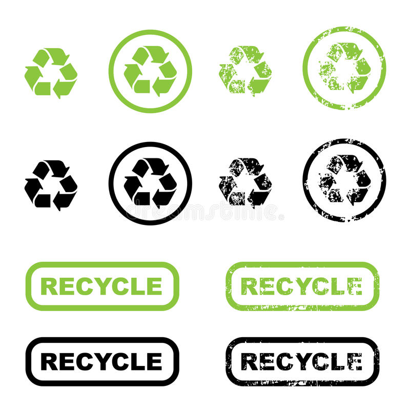 Recycle symbols. Collection of recycle symbols green and black and white version, isolated on white background. Also in grunge style. EPS file available
