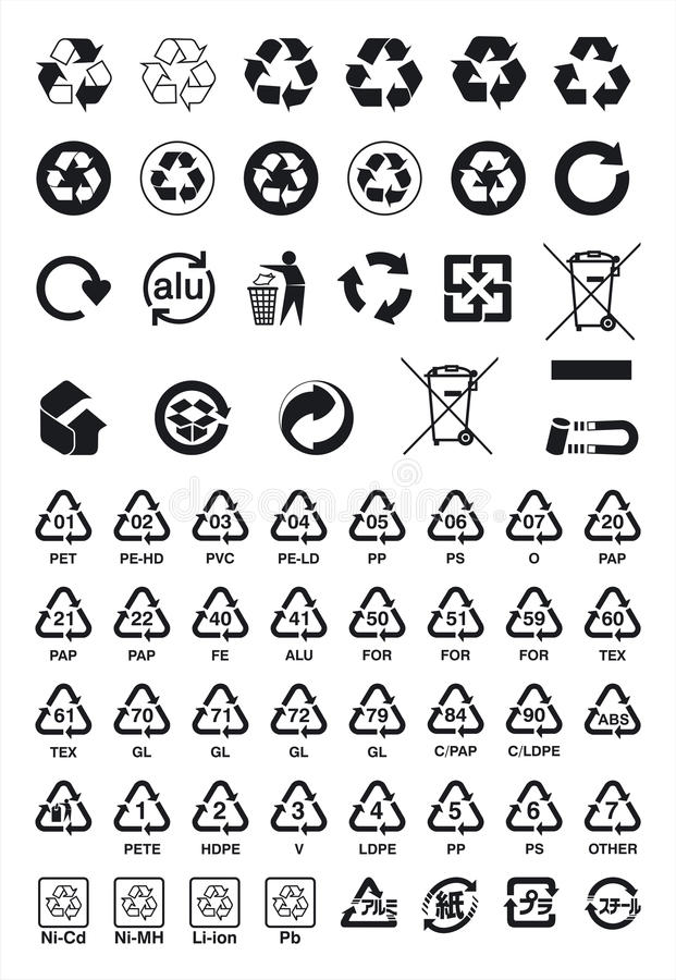 Recycle Symbols. Collection of vector recycle symbols