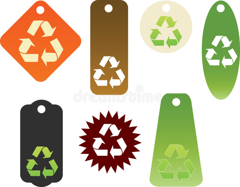 Recycle themed tags. Selection of recycle themed tags stock illustration
