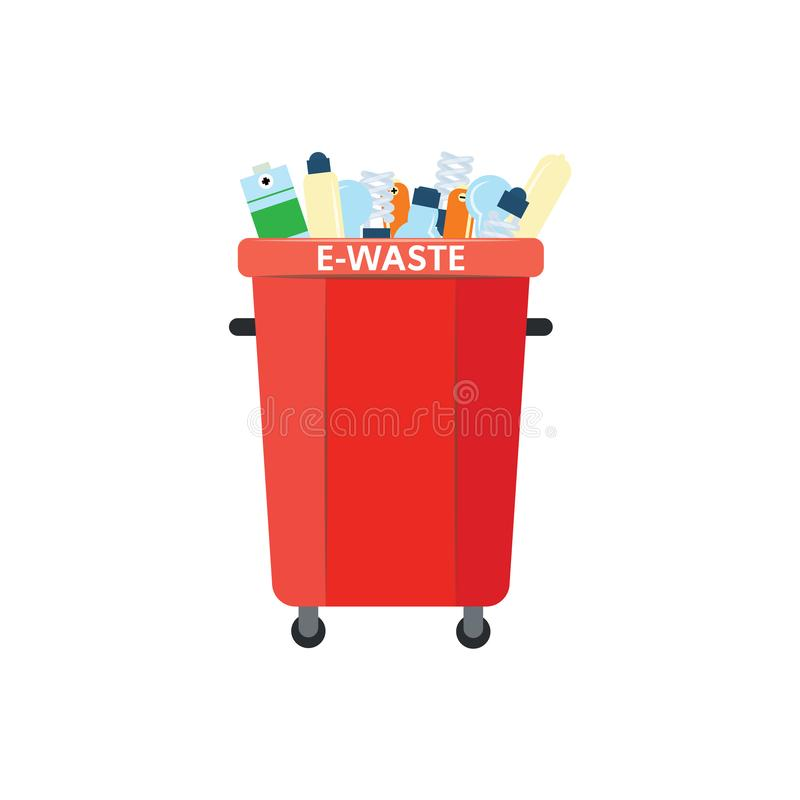 Recycle trash bin for e-waste in flat style isolated on white background. vector illustration