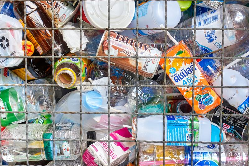Recycle trash closeup stock photo