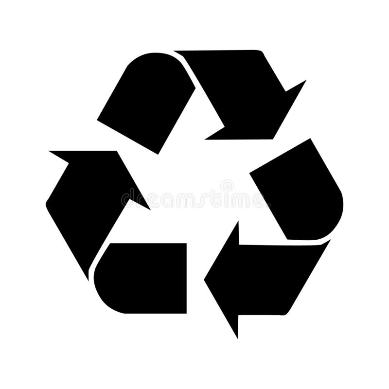 Recycle vector icon. Style is flat symbol, gray color, rounded angles, white background vector illustration