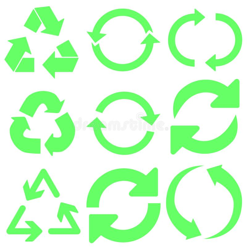 Recycle vector icons set. Recycle icon. Recycling illustration symbol collection. eco logo or sign. royalty free illustration