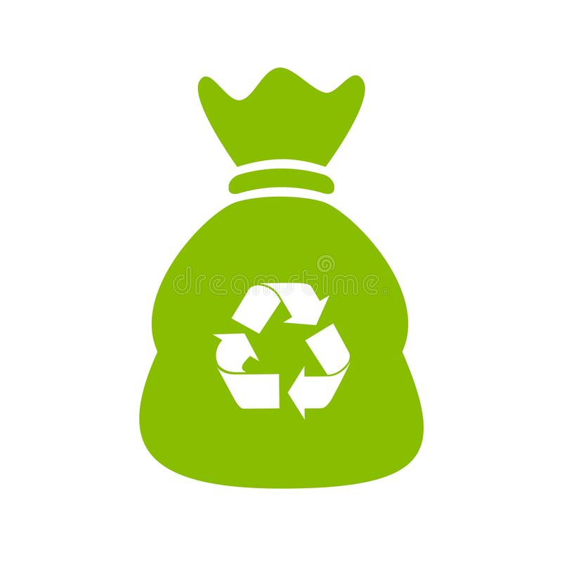 Recycle waste bag vector icon. Isolated on white background vector illustration