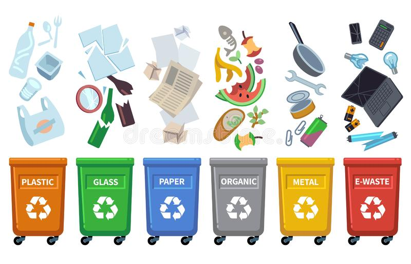 Recycle waste bins. Different trash types color containers sorting wastes organic trash paper can glass plastic bottle stock illustration