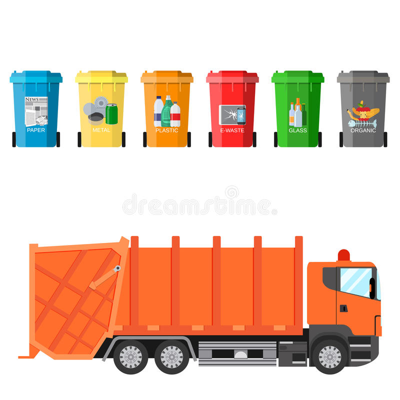 Recycle waste bins and garbage truck. Different colored recycle waste bins and garbage truck vector illustration, Waste management concept Separation of waste on stock illustration