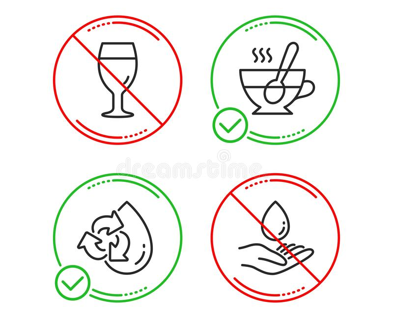 Recycle water, Beer glass and Tea cup icons set. Water care sign. Vector royalty free illustration
