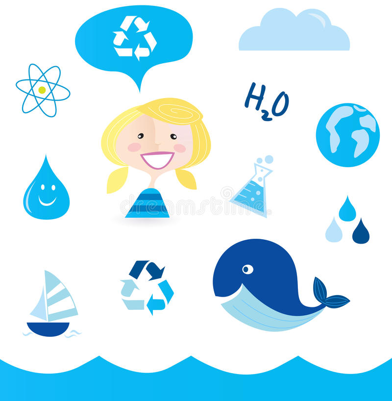 Recycle water: school nautical and water icons stock illustration