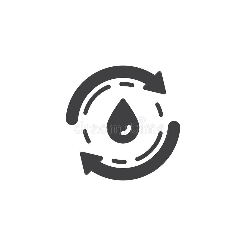 Recycle water vector icon. Filled flat sign for mobile concept and web design. Water drop and cycling arrow glyph icon. Ecology, renewable symbol, logo royalty free illustration