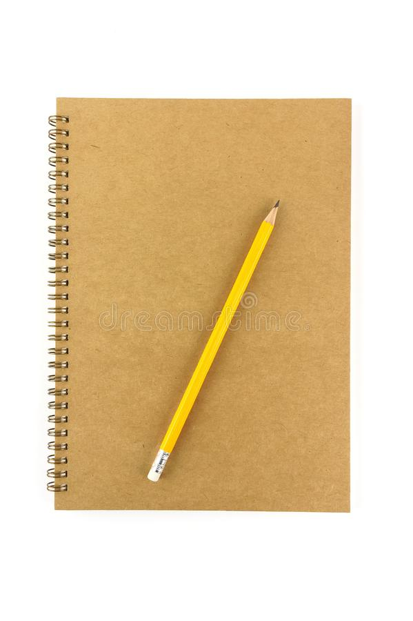 Recycled blank notebook front cover with pencil isolated stock image