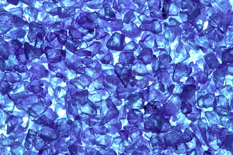 Recycled blue glass pellets