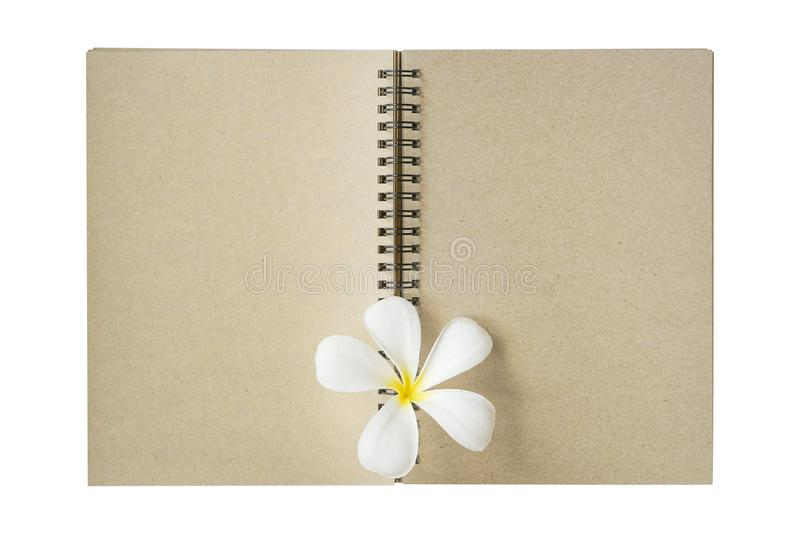Recycled brown paper note book with plumeria flower royalty free stock photography