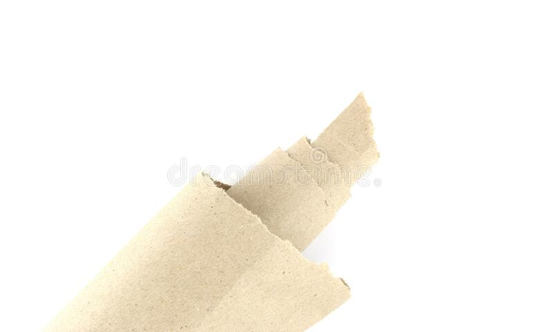 Recycled brown torn or ripped pieces of paper craft stick on a white background royalty free stock photography