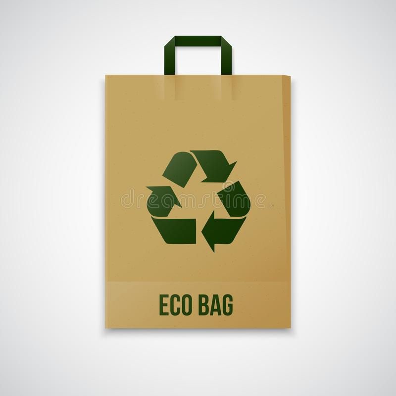 Recycled brown vector eco paper bag. Illustration stock illustration