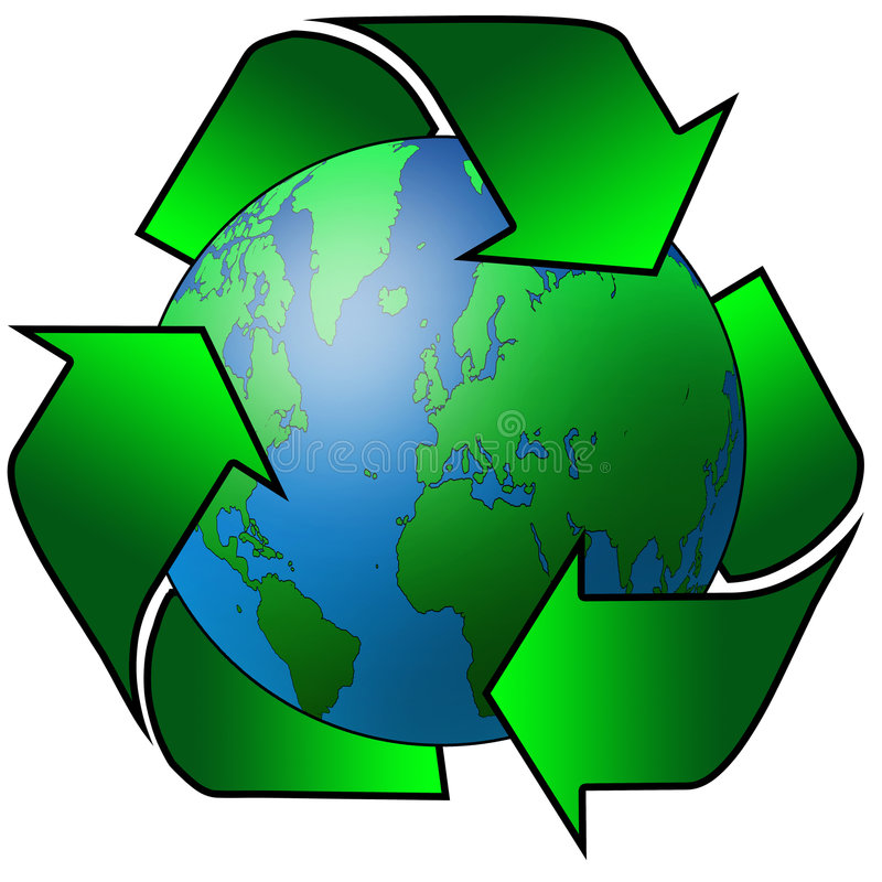 Recycled earth. Recycling arrows surrounding the planet earth vector illustration