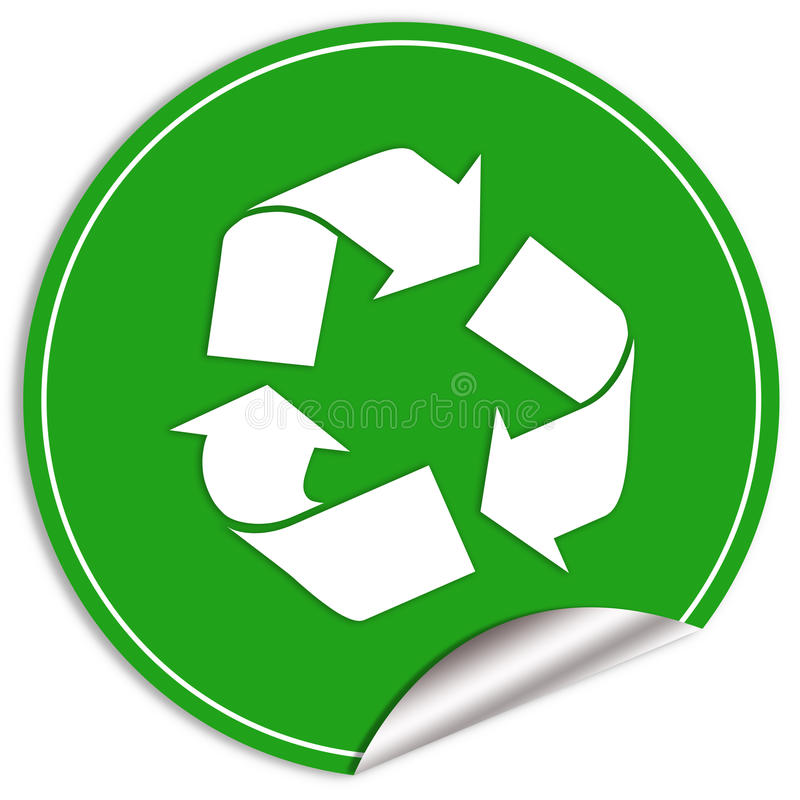 Recycled icon. Recycled sticker isolated over white royalty free illustration