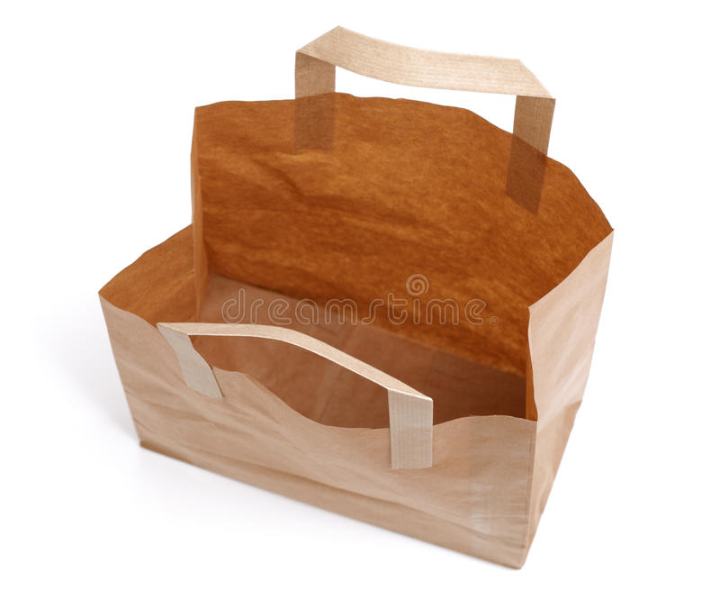 Recycled Paper Bag From Above Stock Photo