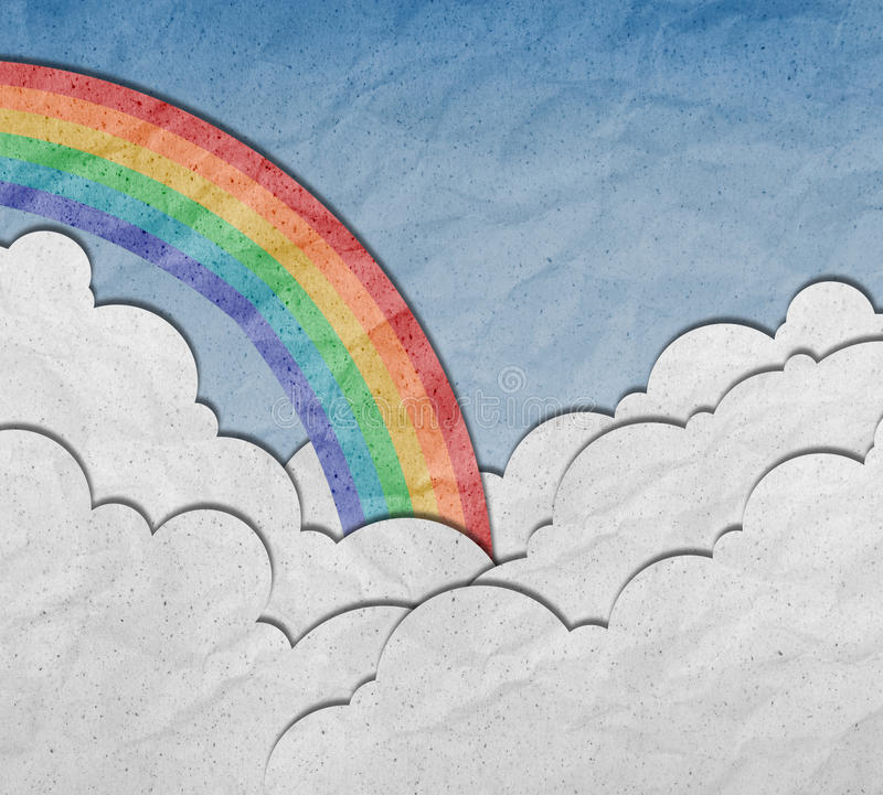 Download Recycled Paper Craft ,sky With  Cloud And Rainbow Stock Illustration - Image: 21649127