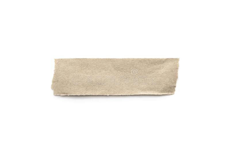 Recycled paper craft stick on a white background. Brown paper torn or ripped pieces of paper isolated on white. With clipping path royalty free stock photo