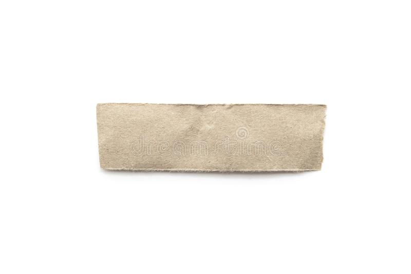 Recycled paper craft stick on a white background. Brown paper torn or ripped pieces of paper isolated on white. With clipping path stock photo