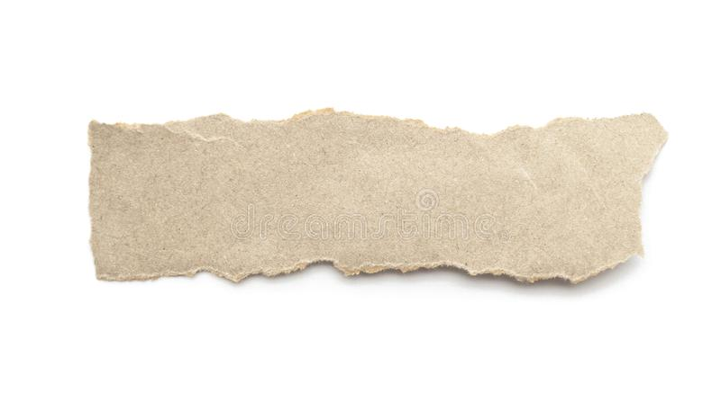 Recycled paper craft stick on a white background. Brown paper torn or ripped pieces of paper isolated on white. With clipping path stock photos
