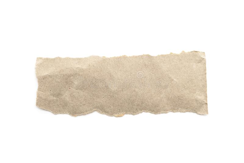 Recycled paper craft stick on a white background. Brown paper torn or ripped pieces of paper isolated on white. With clipping path royalty free stock photos