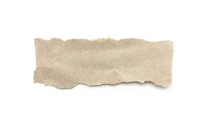 Recycled paper craft stick on a white background. Brown paper torn or ripped pieces of paper isolated on white. With clipping path stock image