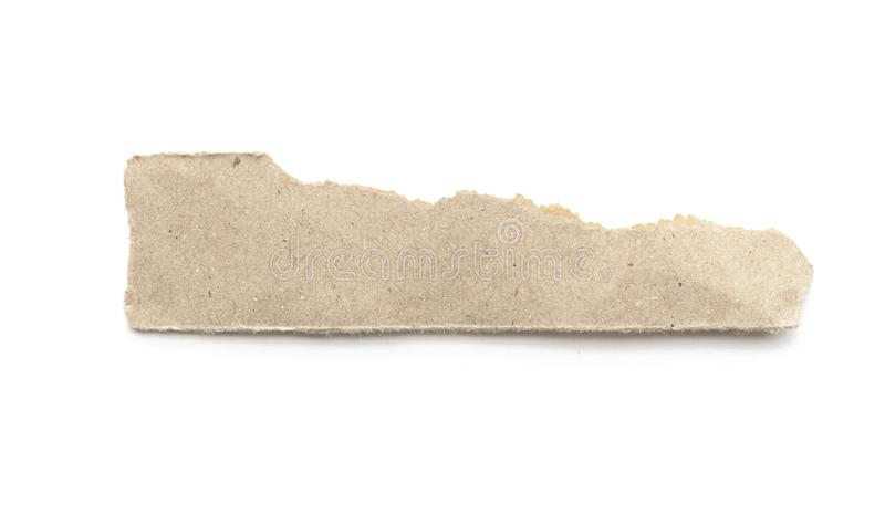 Recycled paper craft stick on a white background. Brown paper torn or ripped pieces of paper isolated on white. With clipping path royalty free stock images