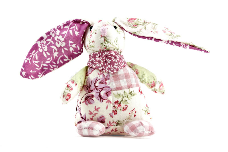 Recycled rabbit toy. Recycled rabbit made from patchwork with big ears royalty free stock photo