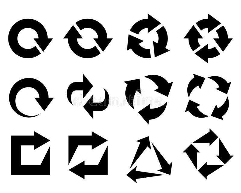 Arrows as symbols recycled element. Arrows as symbols recycled. Signs set isolated on white background. Icons recycled elements for website, app or infographics vector illustration