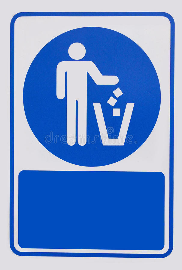 Recycled symbol over blue and white background. Man throwing trash into dust bin. Keep clean royalty free stock images
