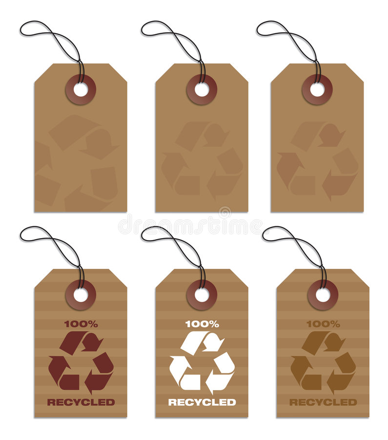 Recycled tags brown stock illustration