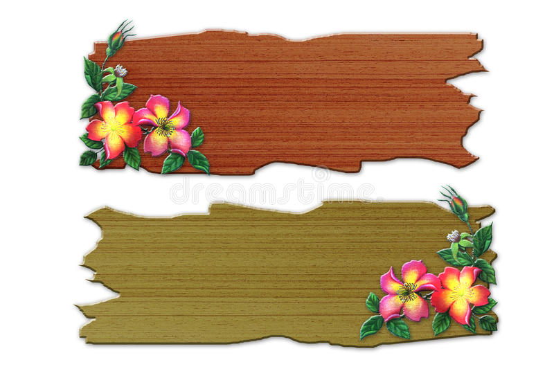 The recycled wooden sign with flowers stock illustration