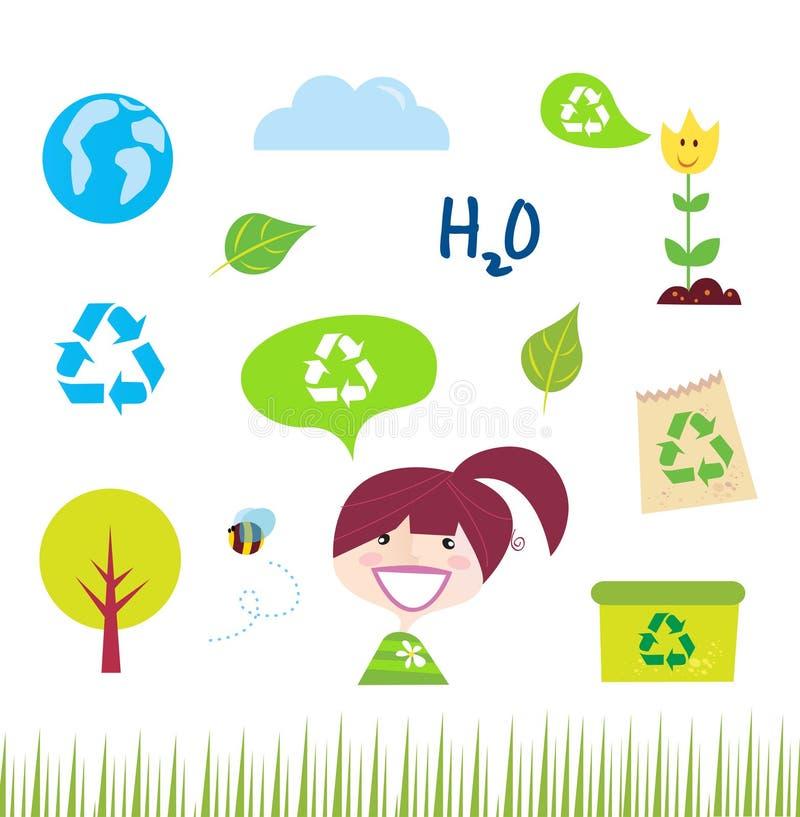Recycleer, aard en ecologiepictogrammen op wit royalty-vrije illustratie