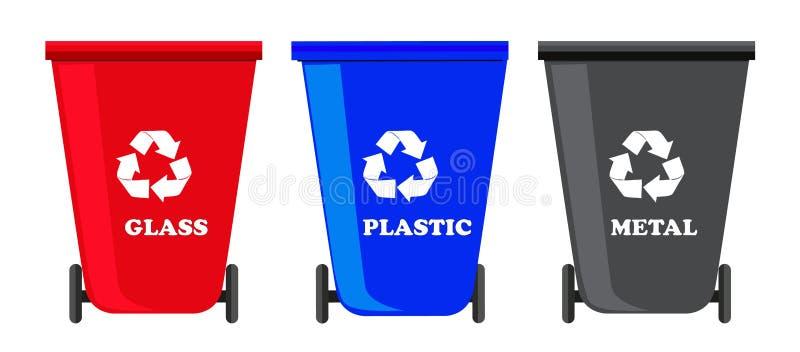 Recycleer bakken geplaatst vector stock illustratie