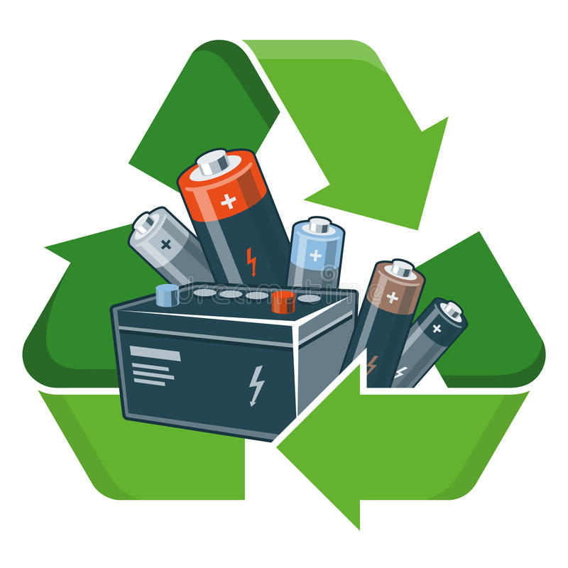Recycleer batterijen royalty-vrije illustratie
