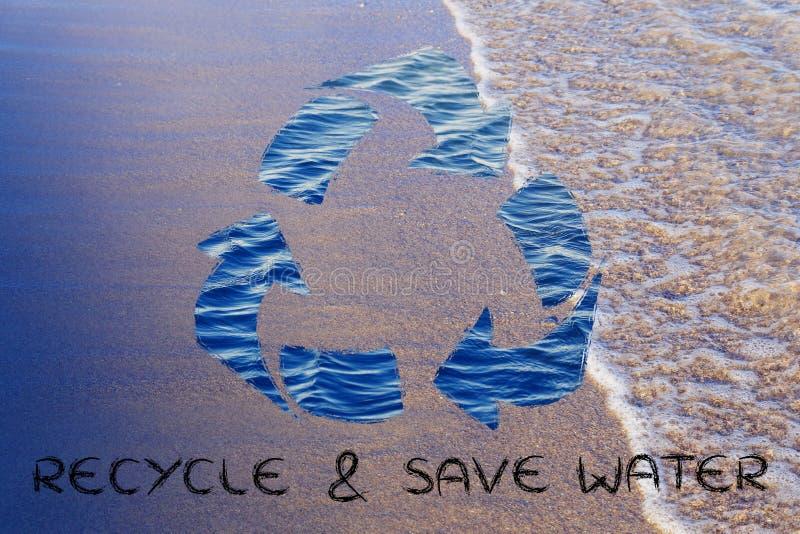 Recycleer & bespaar water stock afbeelding