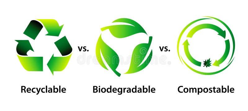Recycleer, biologisch afbreekbaar, en composteerbaar royalty-vrije illustratie
